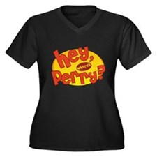 Where's Perry? Women's Plus Size V-Neck Dark T-Shi