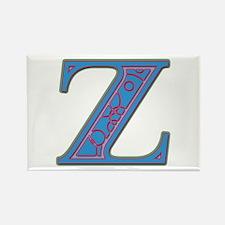 Z Blue Glass Rectangle Magnet