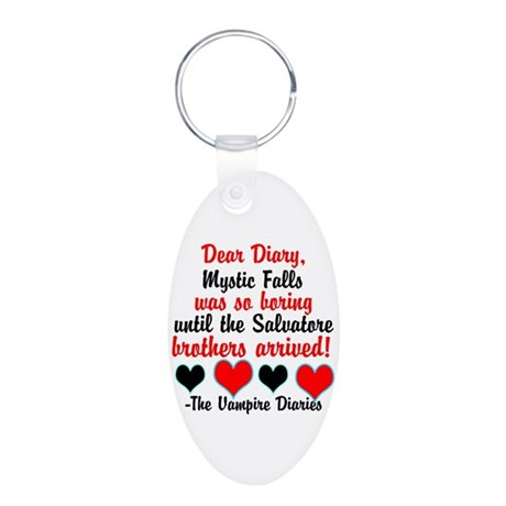 Dear Diary 2, black/red Aluminum Oval Keychain