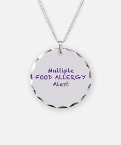 Multiple Food Allergy Alert Necklace Circle Charm