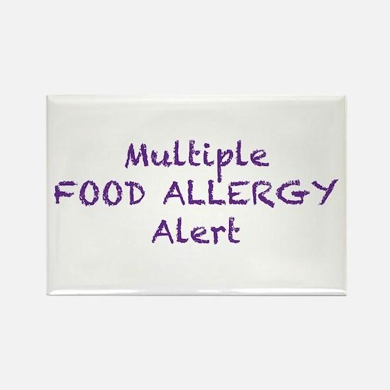 Multiple Food Allergy Alert Rectangle Magnet