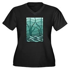 Nouveau Marsh Women's Plus Size V-Neck Dark T-Shir