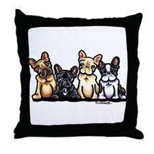 Four Frenchies Throw Pillow