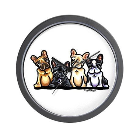 Four Frenchies Wall Clock