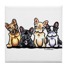 Four Frenchies Tile Coaster