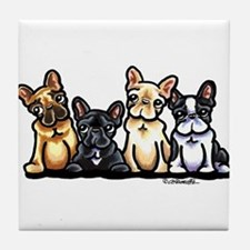 Four Frenchies Tile Coaster