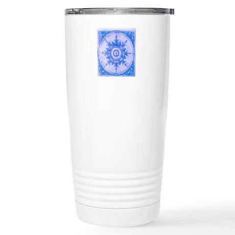 Blue Wind Rose Stainless Steel Travel Mug