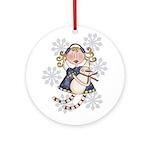 Angel Snowman Keepsake One Ornament (Round)
