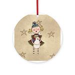 Angel Snowman Keepsake Four Ornament (Round)