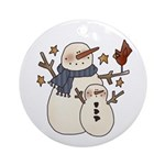 Snow Mother and Baby Ornament (Round)