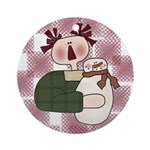 Raggedy and Snowman Ornament (Round)