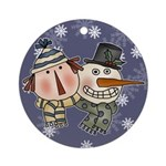 Ragdoll and Snowman Ornament (Round)