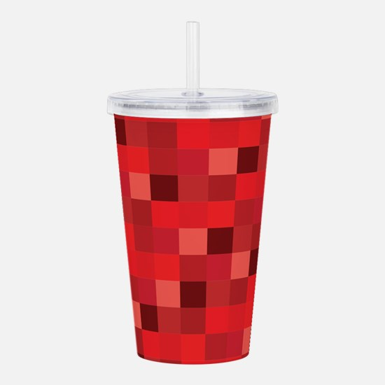 Red Pixelated Pattern Acrylic Double-wall Tumbler