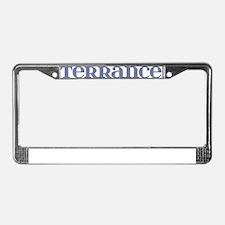 Terrance Blue Glass License Plate Frame