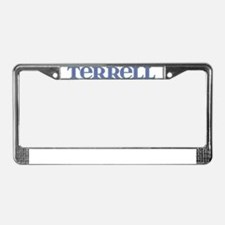 Terrell Blue Glass License Plate Frame