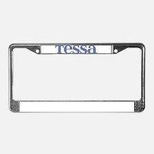 Tessa Blue Glass License Plate Frame