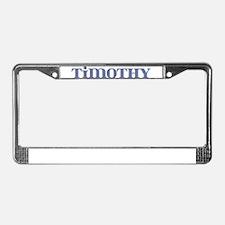 Timothy Blue Glass License Plate Frame