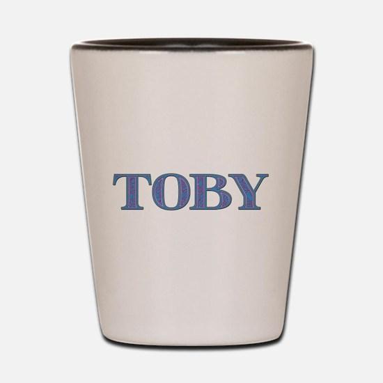 Toby Blue Glass Shot Glass