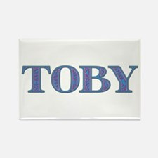Toby Blue Glass Rectangle Magnet
