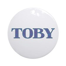 Toby Blue Glass Round Ornament