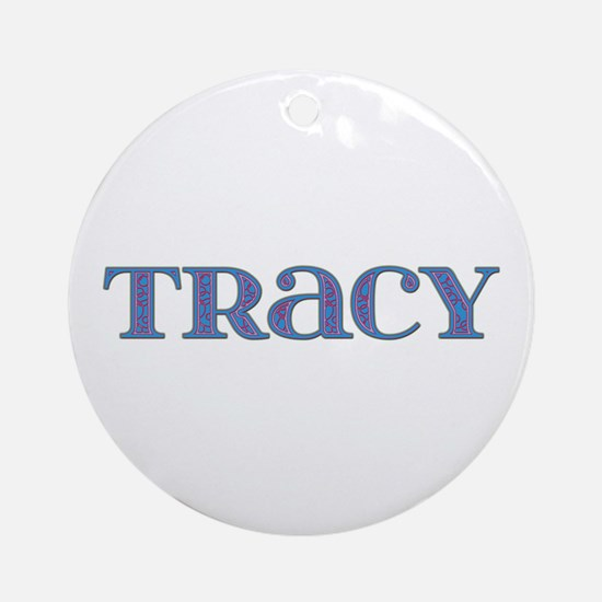 Tracy Blue Glass Round Ornament