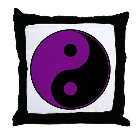 Purple-Black Yin Yang Throw Pillow