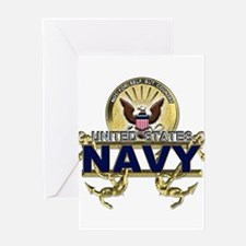 US Navy Gold Anchors Greeting Card
