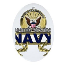 US Navy Gold Anchors Ornament (Oval)
