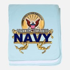 US Navy Gold Anchors baby blanket
