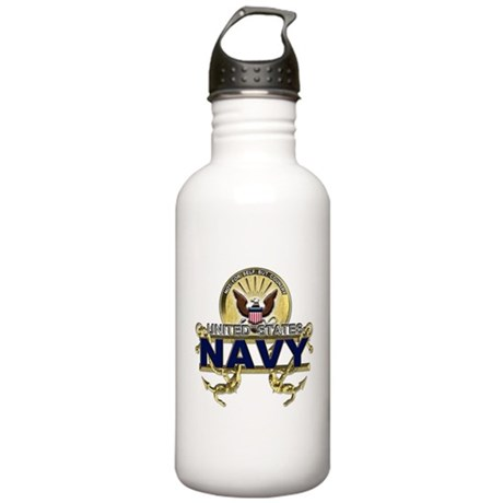 US Navy Gold Anchors Stainless Water Bottle 1.0L