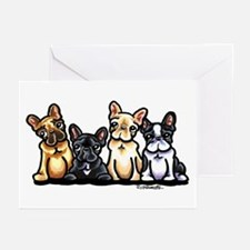 Four Frenchies Greeting Cards (Pk of 10)