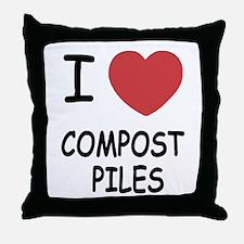 I heart compost piles Throw Pillow
