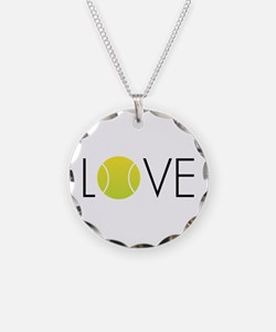 Tennis LOVE ALL Necklace Circle Charm