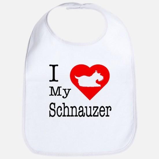 I Love My Schnauzer Bib