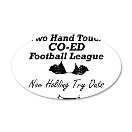 Two Hand Touch Co-Ed Football 22x14 Oval Wall Peel