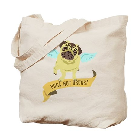 Pugs Not Drugs (Angel) Tote Bag