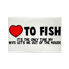 Love To Fish Rectangle Magnet