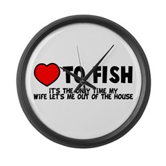 Love To Fish Large Wall Clock