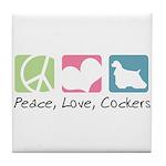 Peace, Love, Cockers Tile Coaster