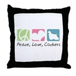 Peace, Love, Cockers Throw Pillow