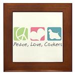 Peace, Love, Cockers Framed Tile