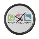 Peace, Love, Cockers Large Wall Clock