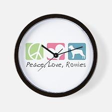 Peace, Love, Rotties Wall Clock
