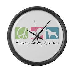Peace, Love, Rotties Large Wall Clock