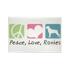 Peace, Love, Rotties Rectangle Magnet