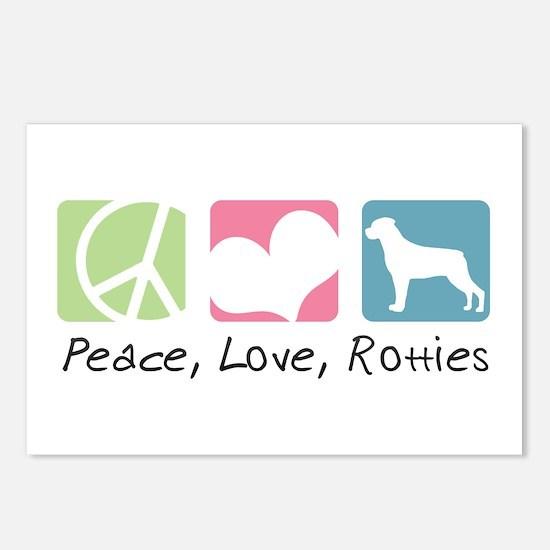 Peace, Love, Rotties Postcards (Package of 8)