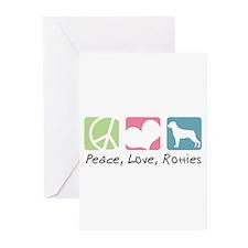Peace, Love, Rotties Greeting Cards (Pk of 20)