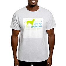 """Greyhound in Green"" Ash Grey T-Shirt"
