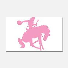 Pink Bronc Cowboy Car Magnet 20 x 12