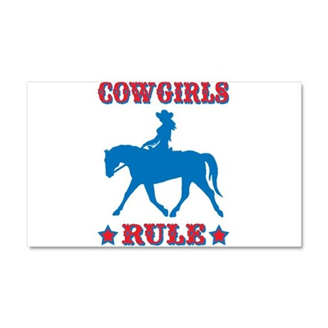 Red & Blue Cowgirls Rule Car Magnet 20 x 12